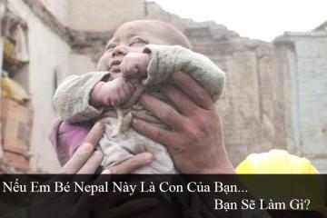 Em bé được cứu sống từ đống đổ nát động đất ở Nepal.