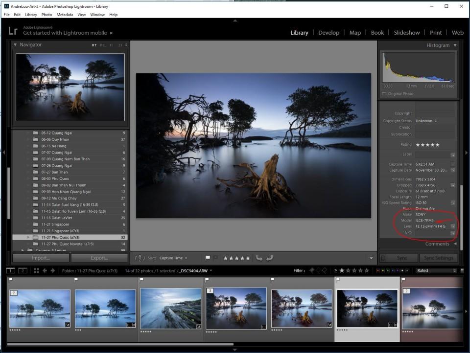 File Raw a7r3 đã được đổi mã máy qua a7r2 để đọc được trên Lightroom va Photoshop Camera Raw.