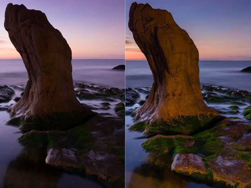 Đèn AndreLuu C20 làm sáng phần bị đen của đá do ngược sáng và bị GND che.