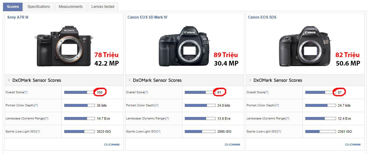 Chất lượng cảm biến Sony a7r III vs Canon 5Dmk4 và Canon 5DS/R.